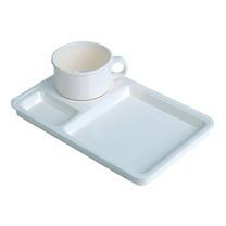 ชุดจานของว่างพลาสติกพร้อมถ้วยกาแฟ #2561 (15.1 x 4.6 x 6.5 cm.) สีครีม