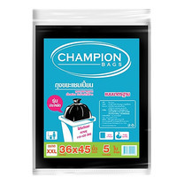 CHAMPION ถุงขยะมาตรฐาน สีดำ 36 x 45 นิ้ว (แพ็ก 5 ใบ)