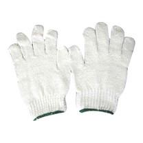 ถุงมือผ้าทอ 5 ขีด สีขาวขอบเขียว 12 คู่/แพ็ก