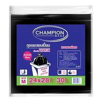 CHAMPION ถุงขยะแบบหนา สีดำ ขนาด 24 x 28 นิ้ว (30 ใบ/แพ็ก)