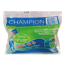 ถุงขยะม้วน CHAMPION คละสีขาวและเขียว 18 x 20 นิ้ว ( บรรจุ 48 ใบ )