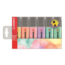 ปากกาเน้นข้อความ STABILO BOSSPastel 70/6E คละสี (แพ็ค6ด้าม)