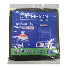 ถุงขยะแบบหนา CHAMPION สีดำ ขนาด 30 x 40 นิ้ว ( บรรจุ 12 ใบ )