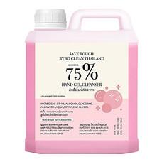 เจลล้างมือแอลกอฮอล์ Save Touch 1 ลิตร สีชมพู