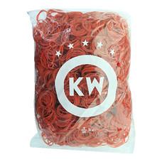 หนังยาง วงเล็ก ยี่ห้อ KW บรรจุแพ็คละ 0.5 กก. สีแดง