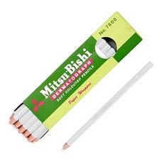 ดินสอเขียนกระจก มิตซูบิชิ 7600 สีขาว(กล่อง 12 แท่ง)