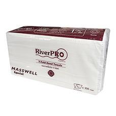 กระดาษเช็ดมือแบบแผ่น V-Fold RiverPro 1 ชั้น 300 แผ่น ขนาด 19 x 24 cm.