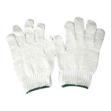 ถุงมือผ้าทอ 5 ขีด สีขาวขอบเขียว (แพ็ค 12 คู่)