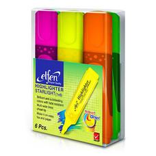 ปากกาเน้นข้อความ เอลเฟ่น 2-5มม. หัวตัด คละสี (แพ็ค6ด้าม)
