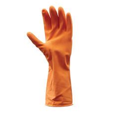 ถุงมือยางธรรมชาติ KRATING D111 ยาว 12 นิ้ว สีส้ม Size L