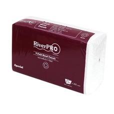 กระดาษเช็ดมือแบบแผ่น RiverPro V-Fold 2 ชั้น 300 แผ่น(แพ็ค 24 ห่อ)