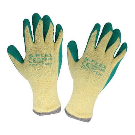 ถุงมือทอเคลือบยางกันบาดกันลื่น S-FLEX รุ่น 300g สีเขียว-เหลือง Size L