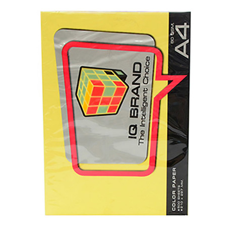 กระดาษสีถ่ายเอกสาร ไอคิว 80g A4 สีเหลือง (แพ็ค 500 แผ่น)