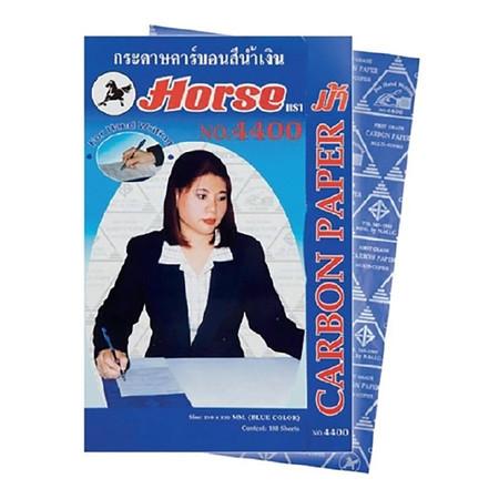 กระดาษคาร์บอน ตราม้า No.4400 21x33ซม.สีน้ำเงิน(กล่อง 100 แผ่น)