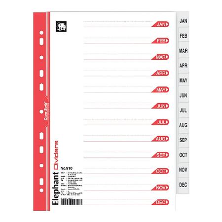 อินเด็กซ์กระดาษ ตราช้าง 910 (Jan-Dec) 12 หยัก สีขาว