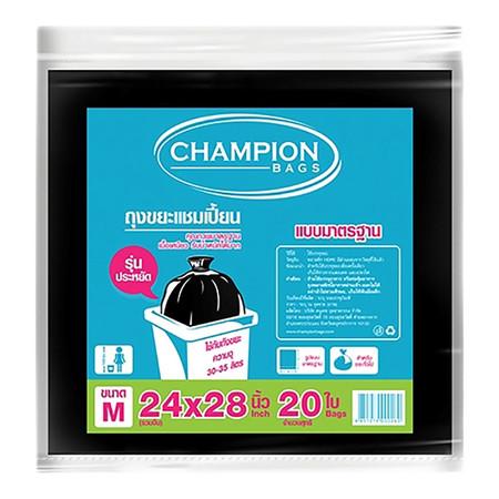 CHAMPION ถุงขยะแบบมาตรฐาน สีดำ ขนาด 24 x 28 นิ้ว (20 ใบ/แพ็ก)