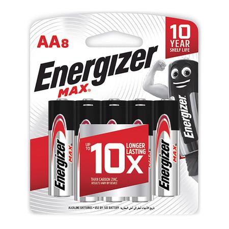 ถ่านอัลคาไลน์ Energizer MAX-E91 AA 1.5 โวลต์ แพ็ค 8