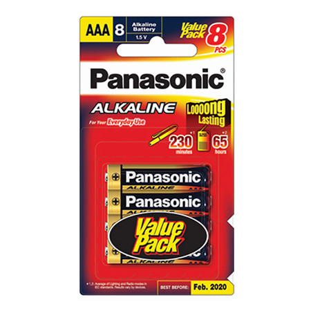 ถ่านอัลคาไลน์ พานาโซนิค LR03T/8B AAA(แพ็ค 8 ก้อน)