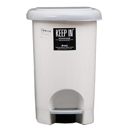 KEEP IN ถังขยะพลาสติก RW9262 (14 ล.) พื้นครีมขาว ฝาเทา