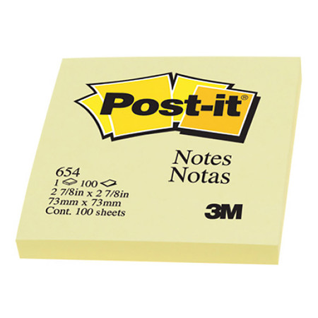 POST-IT กระดาษโน้ต 3M 654Y 3'' x 3'' สีเหลือง (100 แผ่น)