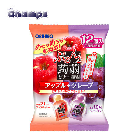 Orihiro Konjac Jelly Apple + Grape Pouch 240 g.
