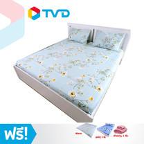 TV Direct DK Home Bedding Set ชุดผ้าปูที่นอน 4 ชิ้น ขนาด 6 ฟุต ลาย White Sakura พร้อมของแถม
