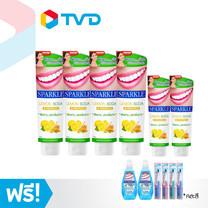 TV Direct Sparkle Double White Lemon Soda (100g/4หลอด) (60g/2หลอด) ยาสีฟันสปาร์คเคิล ดับเบิ้ล ไวท์ เลมอนโซดา แถมฟรี น้ำยาบ้วนปาก 2ขวด และแปรงสีฟัน 4ด้าม