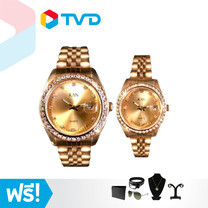 TV Direct Kan Watch รุ่น Luxury Gold นาฬิกาสีทองล้อมเพชรจำนวน 2 เรือน ผู้ชาย และ ผู้หญิง แถมฟรี เซตของแถม