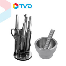 TV Direct MANA เซตครัวยุคใหม่ 5.0 (ชุดมีดสเตนเลสพรีเมี่ยม + ครกสเตนเลส SUS 304)