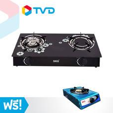 TV Direct SKG Gas Stoves เตาแก๊สกระจกหัวคู่ แถมฟรี เตาแก๊สสเตนเลสหัวเดี่ยว