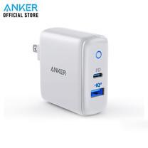 Anker PowerPort PD+2 (PD18W+QC3.0 15W) รองรับชาร์จเร็ว iPhone หัวชาร์จแบตเตอรี่ใช้ได้กับ iPhone / iPad / MacBook / Galaxy / LG - White (ประกัน 2 ปี)