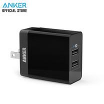 Anker PowerPort 2 Lite หัวชาร์จ ที่ชาร์จมือถือ แท็บเล็ต ช่องเสียบชาร์จ USB 2 พอร์ท จ่ายไฟได้สูงสุดถึง 2.4A - Black