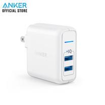 Anker PowerPort 2 Elite 24W หัวชาร์จ ที่ชาร์จมือถือ แท็บเล็ต ช่องเสียบชาร์จ USB จำนวน 2 พอร์ท - White