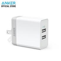 Anker PowerPort 2 Lite หัวชาร์จ ที่ชาร์จมือถือ แท็บเล็ต ช่องเสียบชาร์จ USB 2 พอร์ท จ่ายไฟได้สูงสุดถึง 2.4A - White