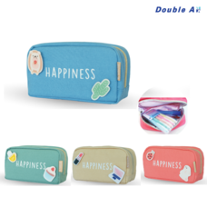 Double A กระเป๋าเครื่องเขียน Stationery bag กระเป๋าใส่เครื่องเขียน กระเป๋าดินสอ ขนาด 19x11x8 cm. รุ่น Happiness สีพาสเทล