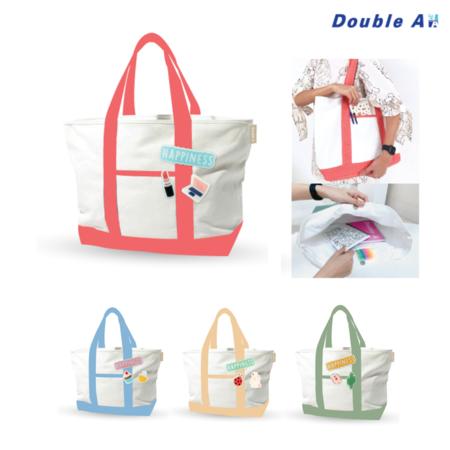Double A กระเป๋าช้อปปิ้ง กระเป๋าผ้าสะพาย กระเป๋าผ้าลดโลกร้อน Shopping bag ขนาด 48x33x14 cm. รุ่น Happiness สีพาสเทล