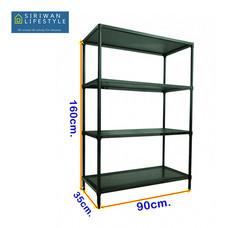 WELLAND ชั้นวางของเหล็กแผ่น 4 ชั้น (ปรับระดับได้) รุ่น 9035160B ขนาด 90 x 35 x 160 ซม. - สีดำ