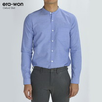 era-won เสื้อเชิ้ต รุ่น OXFORD SHIRT ทรง Slim - สีม่วง Paris Violet คอจีน