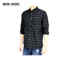 era-won เสื้อเชิ้ต OXFORD SHIRT ทรง Slim - สีดำลายตาราง Golden Road คอปก