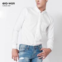 era-won เสื้อเชิ้ต รุ่น OXFORD SHIRT ทรง Slim - สีขาว White  คอปก