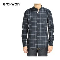 era-won เสื้อเชิ้ต รุ่น OXFORD SHIRT ANTI-BACTERIA ทรง Slim คอจีน - สีเทาน้ำเงินลายตาราง (ChaCoal)