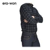era-won เสื้อเชิ้ต รุ่น OXFORD SHIRT ANTI-BACTERIA ทรง Slim คอปก - สีเทาน้ำเงินลายตาราง (ChaCoal)