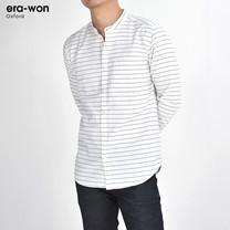 era-won เสื้อเชิ้ต รุ่น OXFORD SHIR ทรงSlim  -  สีขาวลายเส้น Music Flow คอจีน