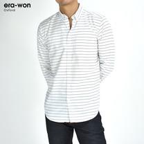 era-won เสื้อเชิ้ต รุ่น OXFORD SHIR ทรงSlim  -  สีขาวลายเส้น Music Flow คอปก