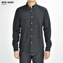 era-won เสื้อเชิ้ต รุ่น OXFORD SHIR ทรงSlim  -  สีดำลายเส้น Black Music คอปก