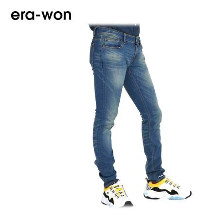era-won กางเกงยีนส์ รุ่น JEANS DENIM ANTI-BACTERIA ทรง Ultra Skinny - สีน้ำฟ้า Basic Blue