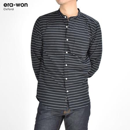 era-won เสื้อเชิ้ต รุ่น OXFORD SHIR ทรงSlim - สีดำลายเส้น Black Music คอจีน