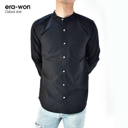 era-won เสื้อเชิ๊ต รุ่น OXFORD SHIRT ทรง Slim - สีดำ Black คอจีน