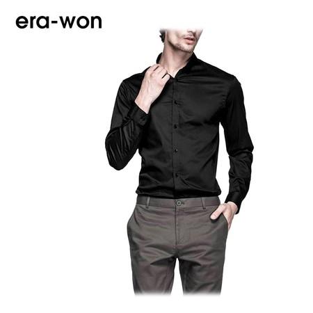 era-won เสื้อเชิ้ต รุ่น U-SHIRT ทรง Slim - สีดำ Black คอปก