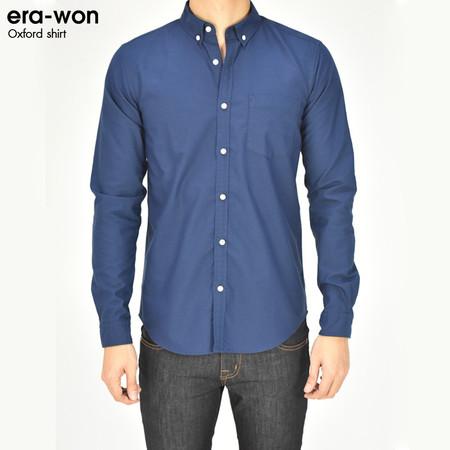 era-won เสื้อเชิ้ต รุ่น OXFORD SHIRT ANTI-BACTERIA ทรง Slim - สีน้ำเงินเข้ม Blue Song คอปก